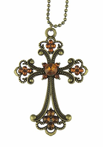 Glamour Girlz Damen Herren Vintage Aussehen Vintage Aussehen Goldfarbenes Gothic Punk Kreuz Halskette
