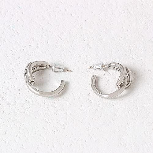 Ohrstecker Ohrring Damen Kalter Wind Persönlichkeit Wilde Mehrschichtige Bogen Bogen Vergoldete Ohrringe Einfache Ohrringe Frauen-Silber (Legierung Vakuumbeschichtung 18 Karat Echtes Gold)