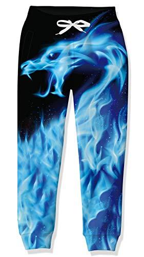 Kleine Jungen Coole Joggerhose mit Kordelzug 3D-gedruckte Black Blue Dragon Jogginghose für Mädchen Größe 10 12 Frühlingsjugendübung Home Party Tracsuit Joggings