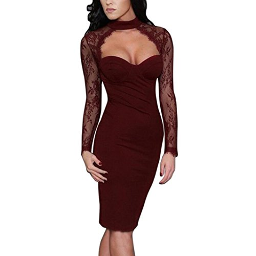 Kolylong® Kleid damen Frauen Elegant V-Ausschnitt Spitze Langarm Kleid Vintage Spitzenkleid Business Kleid Slim Bleistift kleid Etuikleid Cocktailkleid Knielang Party Kleid Abendkleid (L, Wein)