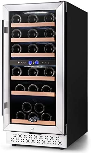 Wine Cooler Refrigerator 30 Bottle Dual Zone 15 Inch Wine Chiller Fast Cooling Built in or Freestanding product image
