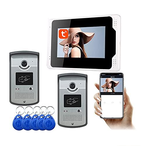 Timbre con video WiFi, APP Tuya de 7 pulgadas, desbloqueo de videoportero con visión nocturna 1080P, intercomunicador, monitor + 2 cámaras
