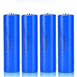 4 Pcs Batería 18650 Recargable Litio Lones Pilas 3.7V 2000mah Capacidad Baterías de Litio Células Acumuladoras para Timbre de Puerta, LED Linterna Antorcha (Puntiagudo)