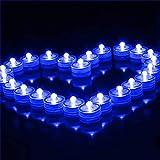 12 luces LED sumergibles resistentes al agua, redondas, funcionan con pilas, electrónicas, sin llama, para jarrones, Halloween, piscina, decoración (azul)
