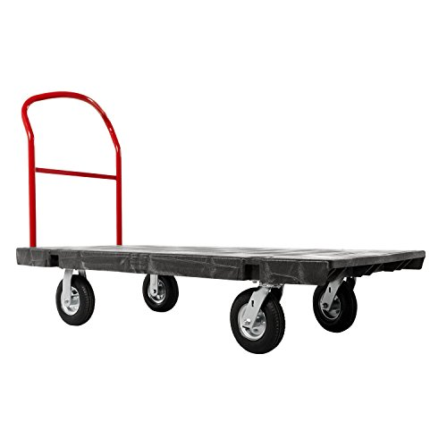 Rubbermaid Commercial Products Heavy Duty Platform Truck, Black Push Cart Dolly, Trolley Cart with Wheels