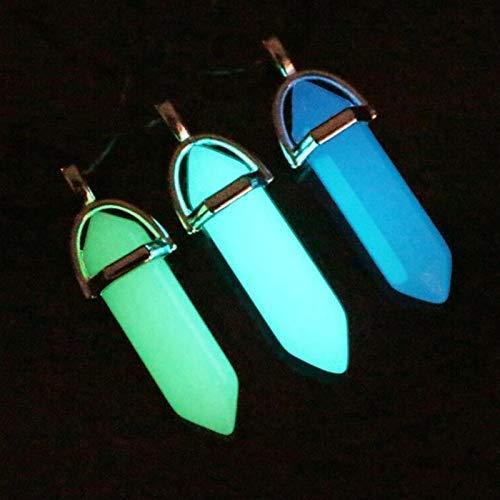 VPlus 3 Stücke Leuchtende Fluoreszierende Hexagonal Mondstein Halskette Kristall Anhänger Halskette Stein Edelstein Glowing (Farbe Zufällig)
