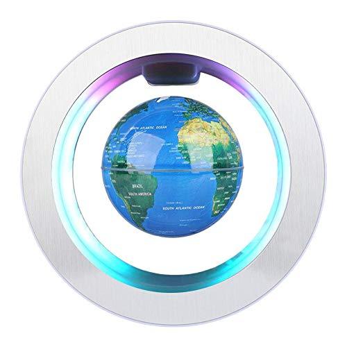 Globo magnético de la levitación globo de rotación del mapa del mundo con luces LED Globo Flotante de levitación magnética para decoraciòn en Oficina y casa para los niños regalo 4 pulgadas(Azul)