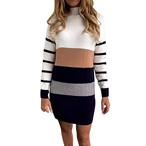 Fxhan Women Long Sleeve Striped Sweater Autumn Winter Knitted Pullover O-Neck Tops