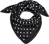 styleBREAKER pañuelo de mujer cuadrado con estampado de lunares, pañuelo para el cuello, pañuelo para la cabeza, bandana 01016171, color:Negro