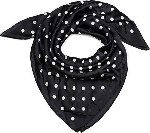 styleBREAKER pañuelo de mujer cuadrado con estampado de lunares, pañuelo para el cuello, pañuelo para la cabeza, bandana 01016171