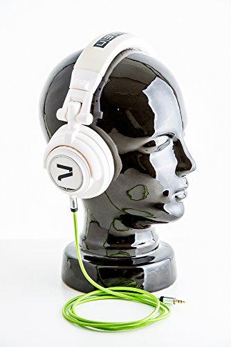 7even Headphone White/Green Kopfhörer weiß mit grünem Textilkabel, falt und klappbar