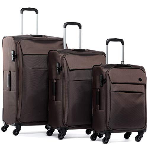 FERGÉ set di 3 valigie viaggio Calais - bagaglio morbido leggera 3 pezzi valigetta 4 ruote girevole marrone