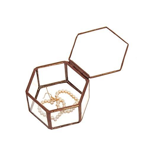 Feyarl Schmuckschatulle Glas, Geometrisches Glas Terrarium Box Ring Box Glas für Ohrringe Ringe Blume Sukkulente Pflanzgef Deko -Rotkupfer