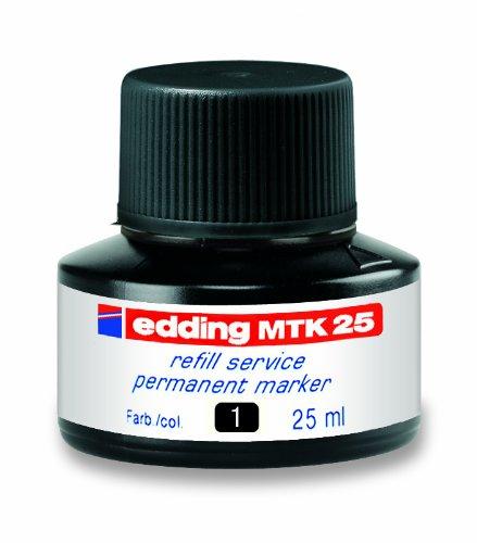 edding MTK25-001 - Frasco de tinta permanente de 30ml, sistema capilar, color negro