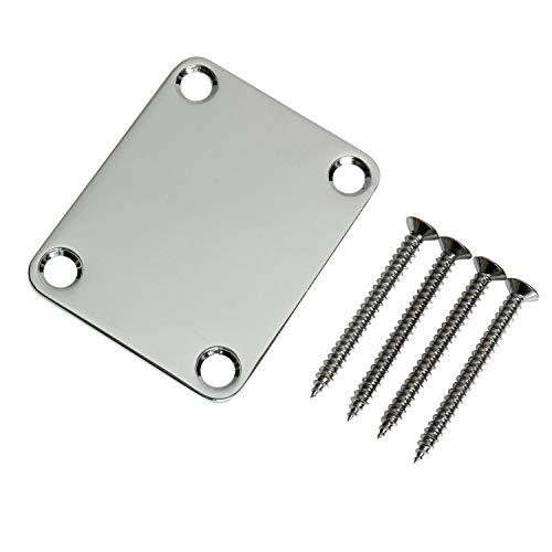 Stratocaster Telecaster Electric Guitar Neck Plate Screws Included - Chrome