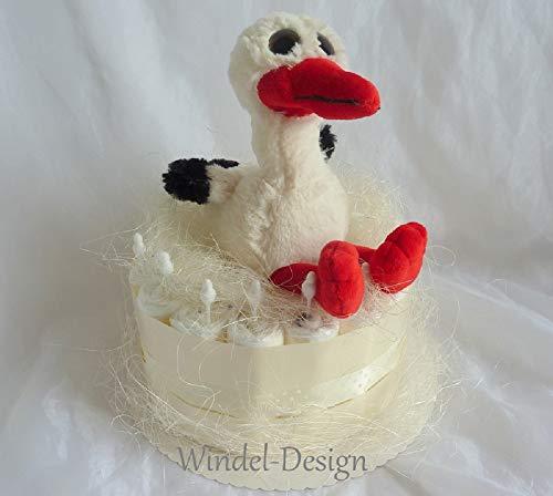 Pañales para tartas, Cigüeña Niño Niña nacimiento o bautizo, en deseos con felicitación kärtchen