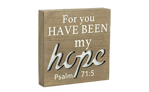 My Hope Psalm 71:5 LED Light-up Weathered Wood 3.5 x 8 Wood Table Top Sign Plaque