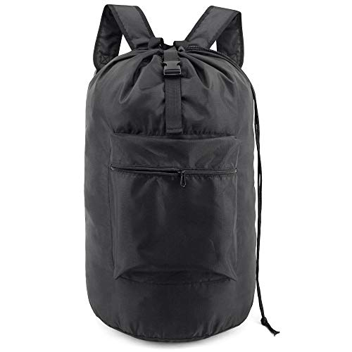 BeeGreen Laundry Bag Backpack with Zipper Pouch and Shoulder Straps Black Heavy Duty Laundry Bag XLarge Polyester with Handle Portable to Hold More Loads of Laundry for Men Women Black