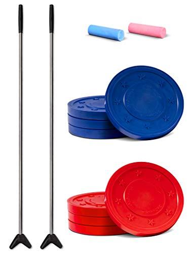 GoSports Driveway Shuffleboard Game Set, Red; Blue