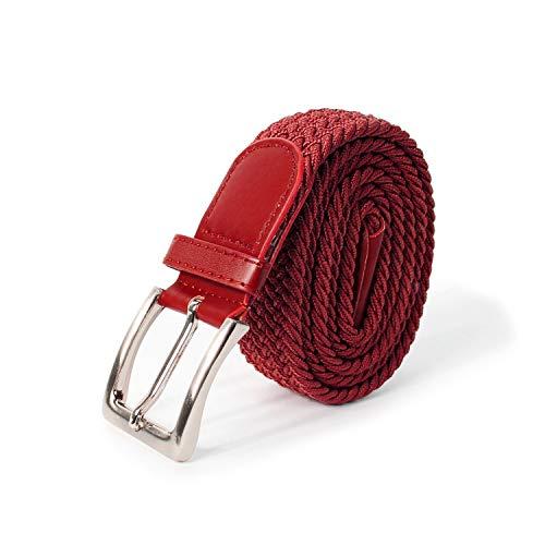 Glamexx24 Unisex Elastischer Stoffgürtel Geflochtener Stretchgürtel Dehnbarer Gürtel für Damen und Herren, Rot, 105cm