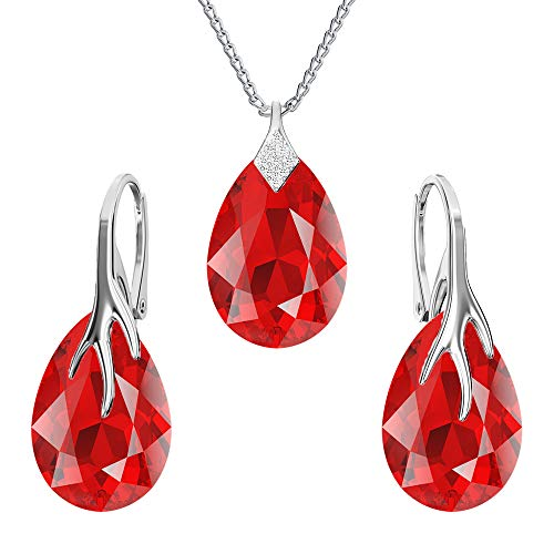 925-sterling silver jewelry set with crystals from Swarovski - Claw pear - Many colors - Earrings Necklace with pendant - Jewelry for women with a gift box (Light Siam)