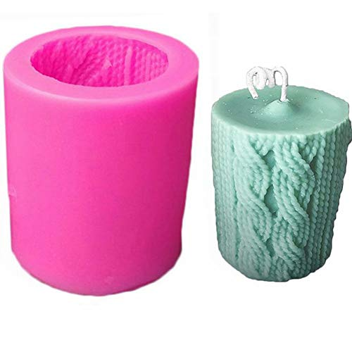 Silicone Molds, 3D Stereo Knitting Wool Cylindrical Candle Cake Chocolate Soap Silicone Mold, Aroma Wax Melt Candle Making Supplies Tools, Small Mould, DIY Baking Tool Home Decoration for Christmas