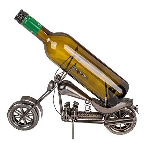 Out of the Blue 71/3192 - Flaschenhalter aus Metall, Motorrad II, ca. 32 x 22 cm, ideal als Deko und Geschenkverpackung