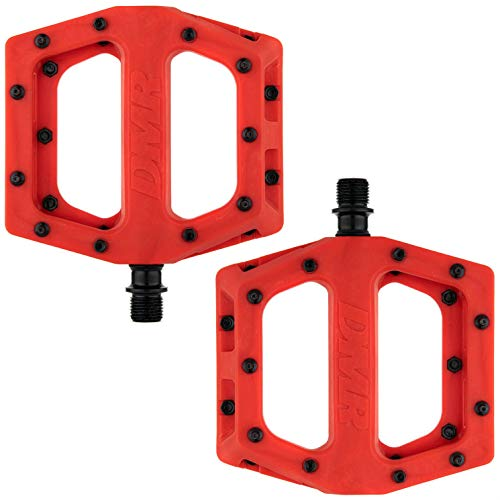 Dmr V11 Flat Mountain Bike Pedals - Red/Black, Steel Axle/Pair Lightweight Nylon Composite Plastic MTB Cycling Part Downhill Freeride Ride Trail Dirt Jump Cycle Wide Platform Tuneable Pin Grip