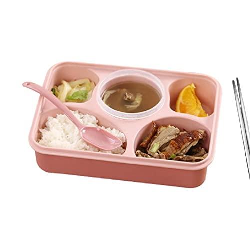 Fiambrera Bento de plástico para horno microondas de 5 rejillas para estudiantes adultos plato de comida rápida sellada recipiente de comida dividido con tapa horno microondas fiambrera Bento
