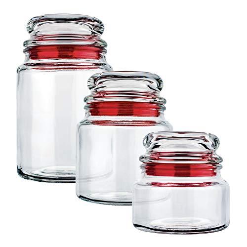 Conjunto Potes de Vidro Multiuso 3 Peças Euro Vermelho