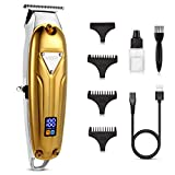 VGR Cordless Hair Clippers for Men Professional, Rechargebale with LED Display, T Outliner Beard trimmer Barber Haircut Grooming Home Hair Cutting Kit for Kids & Baby - Gloden-1