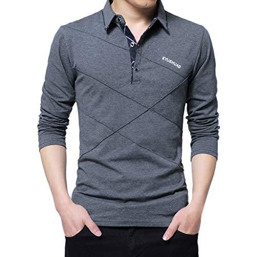MRULIC Herren Frühling Lässige Langarm Revers Shirt Button Baumwolle T-Shirt Long Sleeve Tops Bluse mit Krawatten Abgestimmt(Dunkelgrau,EU-S/CN-M)