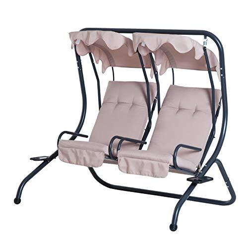 Outsunny 2 Sitzer Hollywoodschaukel Gartenschaukel mit Sonnendach Gartenstuhl Sitz mit Sprühbaumwolle Oxfordstoff PE-Beschichtung Stahl Polyester Beige 170 x 136 x 170 cm(pro Sitz)