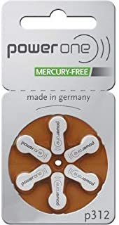 Power One Mercury Free Size 312, 2 Pack (60 Batteries)