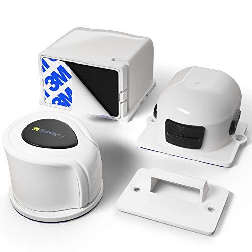 Premium Unsichtbare Kindersicherung für Schrank - 8 Schlösser, 2 magnetische Schlüssel Set von Safetyfy™ Magnetisches Schrankschloss zur Schubladensicherung und Schranksicherung