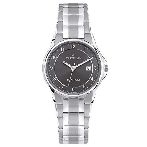 DUGENA Damen-Armbanduhr 4460514 Gent, Quarz, schwarzes Zifferblatt, Titangehäuse, Mineralglas, Titanarmband, Drückerfaltschließe, 5 bar