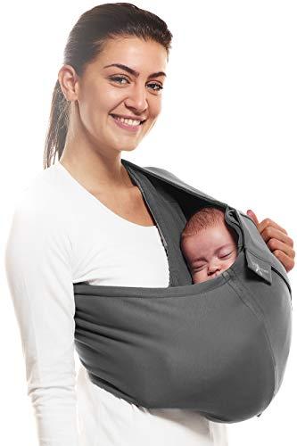 Wallaboo Baby Tragetuch Connection, 100% Baumwolle, Passt sich der Form Ihres Baby genau an, Atmungsaktiv, Weich, Ergonomische Babytragetuch, Für Neugeborene und Babys bis 15 kg, Farbe: Grau