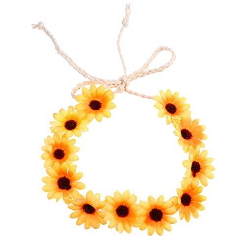 Frcolor Corona di Capelli Regolabile per Capelli Fascia Girocollo Fascia Fiore Giallo Margherita per i Festival di Nozze