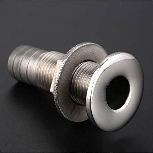 Stainless Steel Straight Thru-Hull Valve Fitting Akozon Hose Barb Marine Barbed Hose Thru Drain 3//4