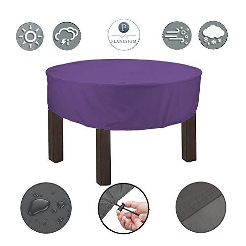 Planesium Premium dekzeil tuintafel rond afdekhoes ronde tafel afdekking beschermhoes garnituur tuinmeubelset scheurvast ademend waterdicht Ø 110cm x 15cm lila