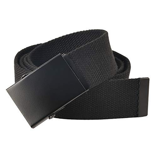 KEYNAT Cintura di Tela con Fibbia Scorrevole in Metallo per Esterno, Sport (nero)