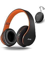 zihnic słuchawki Bluetooth nauszne nauszne, składany bezprzewodowy i przewodowy zestaw słuchawkowy stereo micro SD/TF, FM dla iPhone / Samsung/iPad/PC, wygodne nauszniki i lekka waga do długotrwałego noszenia (czarno-pomarańczowy)