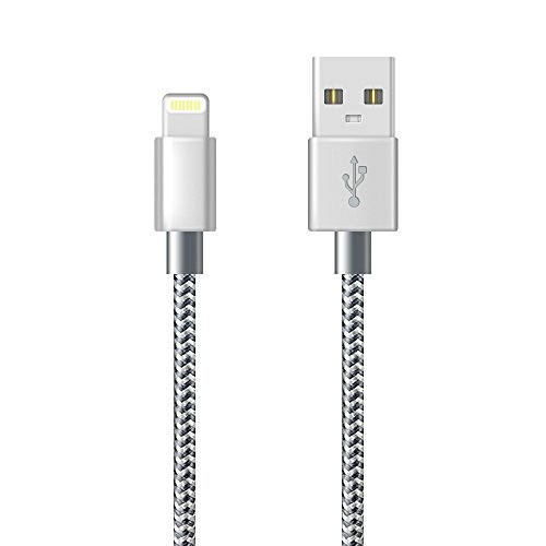 Cavo iPhone, Cavo Lightning Caricabatteriedi iPhone Nylon Intrecciato Cord per iPhone X/XS/XS Max/XR/8/8 Plus/7/7 Plus/6s/6s Plus/6/6 Plus/5c/5s/5, iPad(1M/3FT, Grigio)