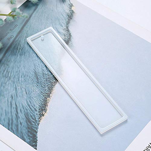 WXLAA Clear Rectangle Silicone Mold with Hole DIY Epoxy Resin Pendant Bookmark Craft Making Tool (2 PCS)