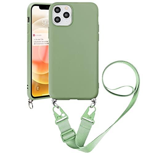 Pnakqil Capa tiracolo compatível com Samsung Galaxy S8 Plus de 6,2 polegadas, capa protetora com cordão ajustável com TPU macio à prova de choque de silicone para Samsung S8 Plus, verde