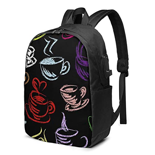 Laptop Backpack with USB Port Coffee 041, Business Travel Bag, College School Computer Rucksack Bag for Men Women 17 Inch Laptop Notebook