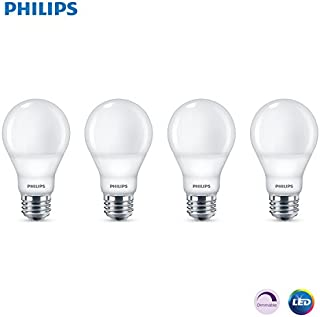 Phillips LED Dimmable A19 Light Bulb with Warm Glow Effect 800-Lumen, 2200-2700 Kelvin, 9.5-Watt (60-Watt Equivalent), E26 Base, Frosted, Soft White, 4-Pack