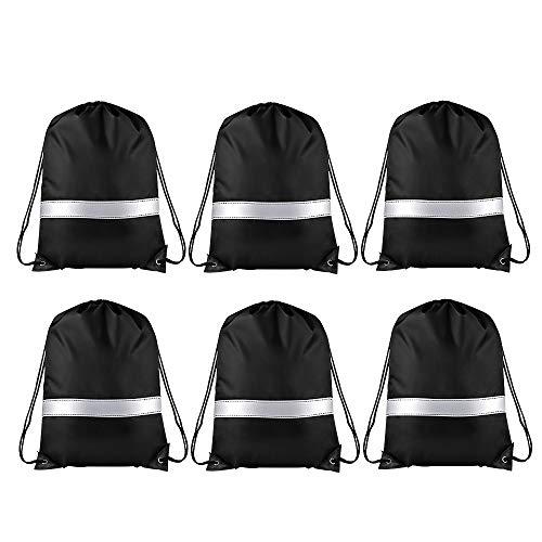 Drawstring Backpack Bag- Reflective Strip Bags for Travel, Sport, Gym, Hiking