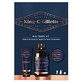 King C.Gillette Mini Kit De Viaje Set De RegaloEsenciales Para El Cuidado De La Barba: Crema Hidratante Para Rostro Y Barba Incipiente 30 ml + Gel Limpiador Para Barba 60 ml + Bálsamo Para Barba 25 ml