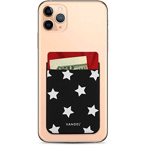 Vandel Pocket: Stick On Fabric Cell Phone Wallet | Credit Card Holder for Back of Smartphone Case | Stretchy Fabric Adhesive Sleeve Compatible with All Devices | Star Print